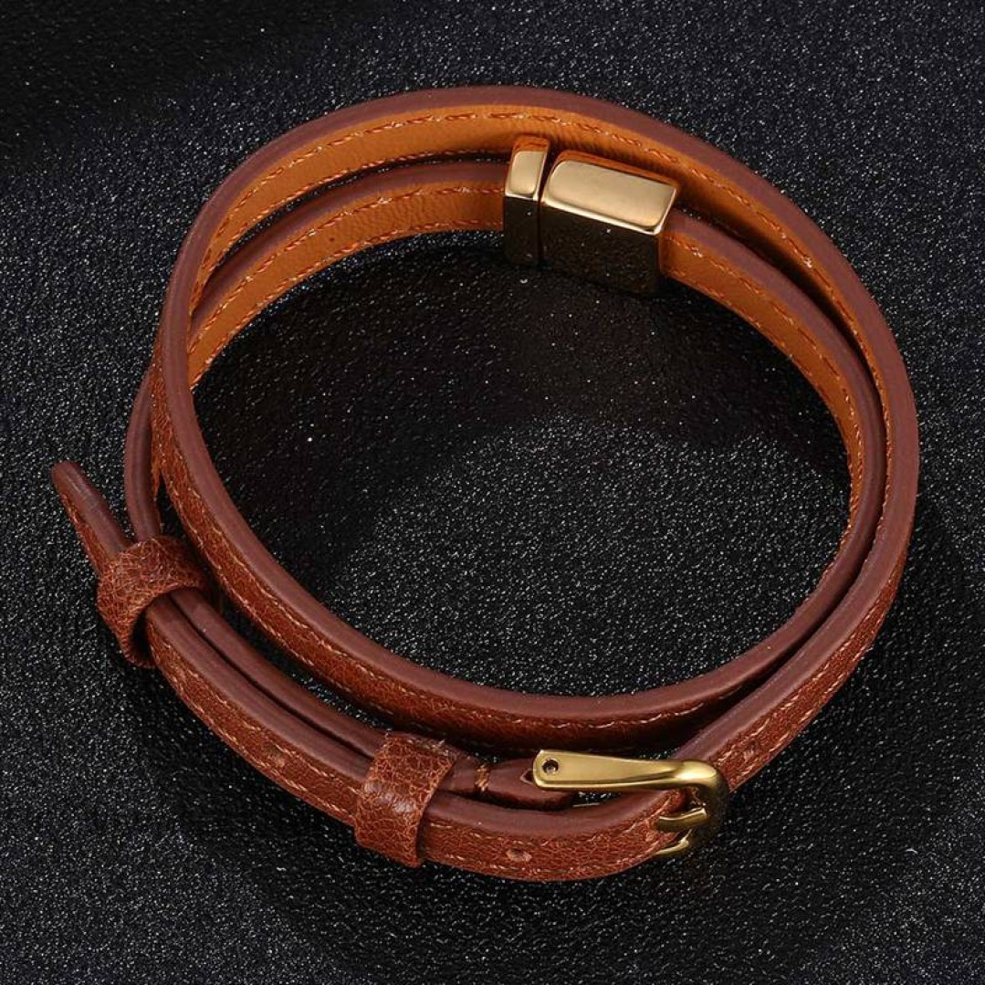Браслет-ремень женский кожаный в два оборота коричневый Gold Твой Браслет LTH442