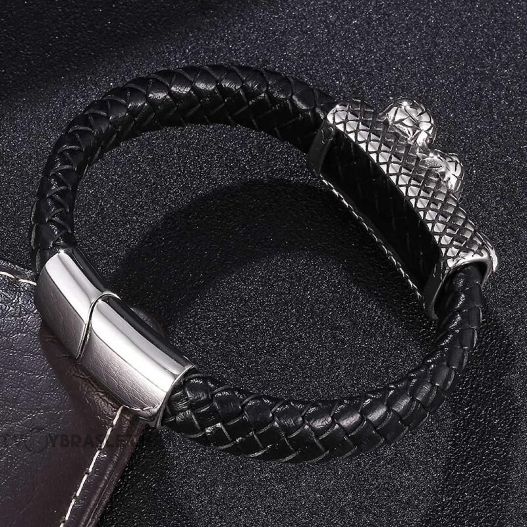 Браслет кожаный мужской со змеей на стальной пряжке черный Твой Браслет LTH446