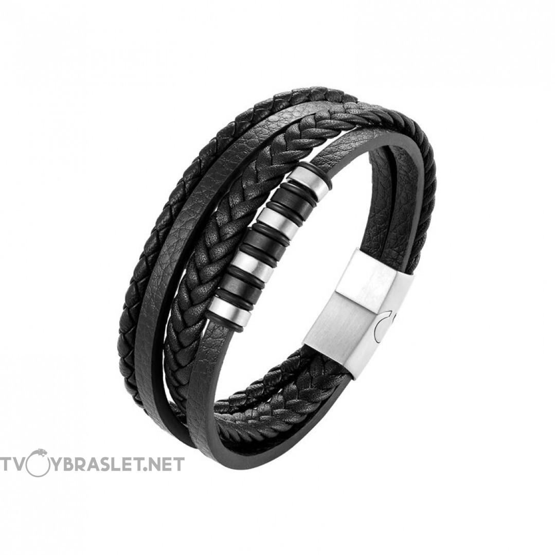 Браслет кожаный мужской многослойный черный Silver Твой Браслет LTH447