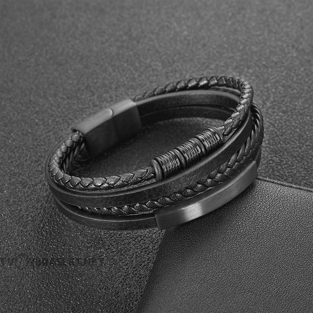 Браслет мужской кожаный в 4 слоя с магнитным замком Black Твой Браслет LTH451