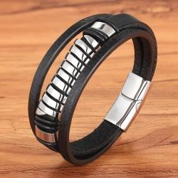 Браслет кожаный мужской черный с магнитным замком Silver Твой Браслет LTH452