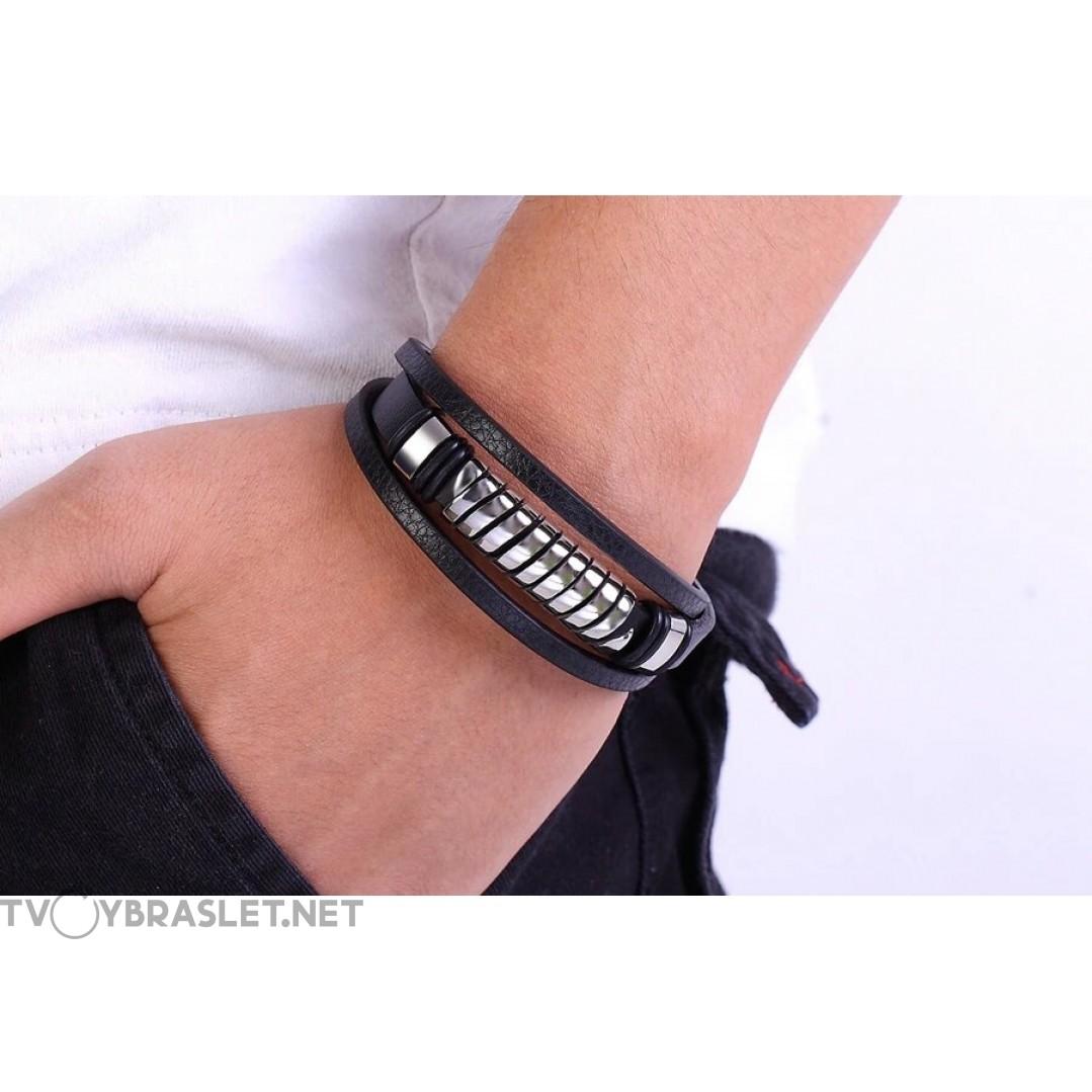 Браслет кожаный мужской черный с магнитным замком Твой Браслет LTH452