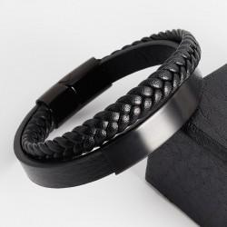 Браслет кожаный мужской в два слоя черный с черной пластиной Твой Браслет LTH454