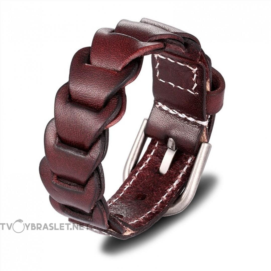 Браслет-ремень кожаный коричневый Твой Браслет LTH458