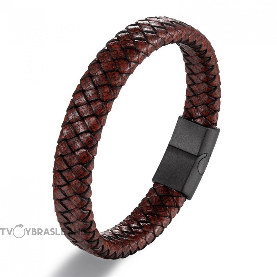 Браслет кожаный мужской коричневый Vintage Black Твой Браслет LTH460