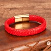 Браслет кожаный плетеный красный с магнитным замком Твой Браслет LTH462