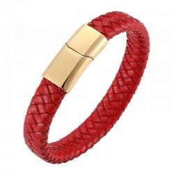 Браслет кожаный плетеный красный с магнитным замком Gold Твой Браслет LTH462