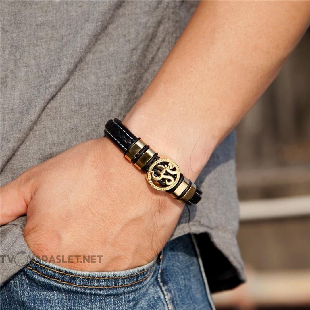 Браслет кожаный мужской с символом Ом Gold Твой Браслет LTH463