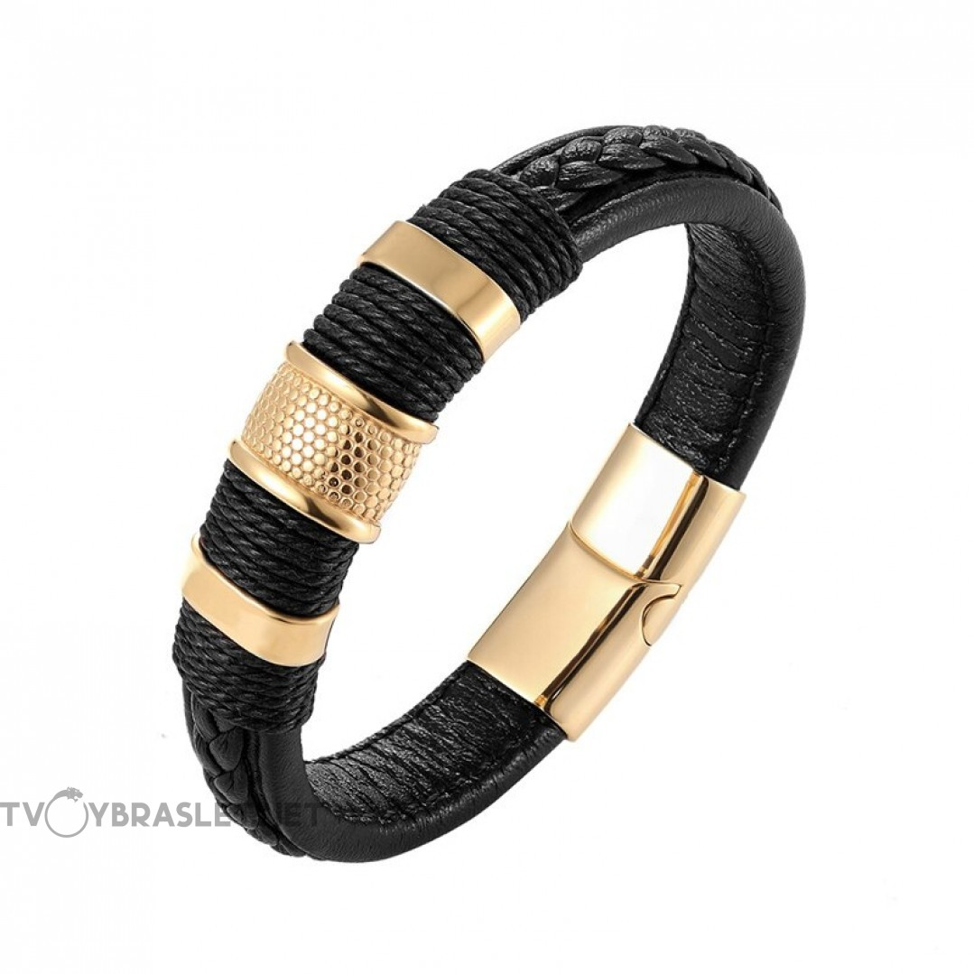 Браслет кожаный с плетением магнитный замок черный Gold Твой Браслет LTH467