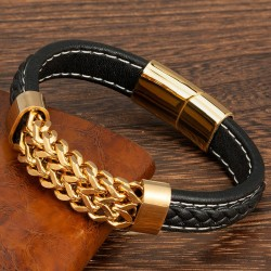 Браслет кожаный мужской со стальной цепью черный белая строчка Black Gold Твой Браслет LTH468