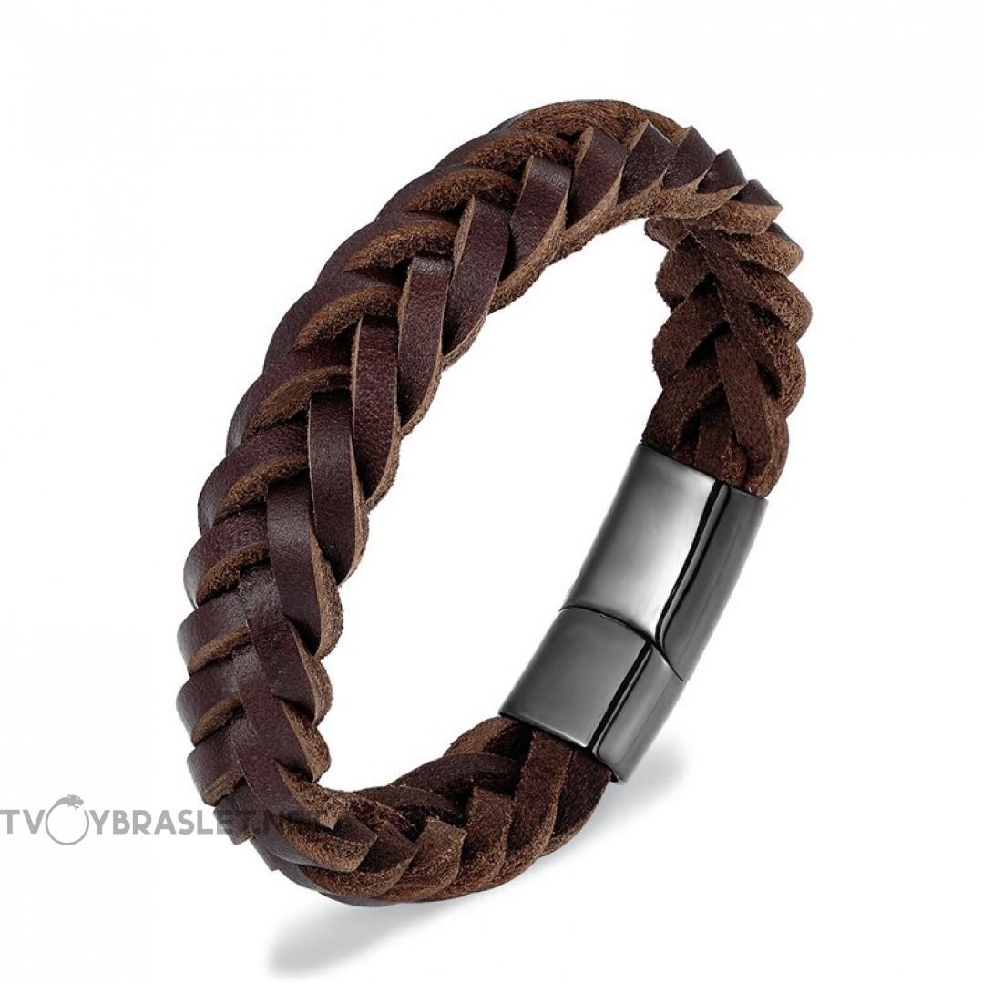 Браслет кожаный мужской коричневый с магнитным замком Black Твой Браслет LTH472
