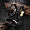 Браслет кожаный мужской черный с магнитным замком Black Твой Браслет LTH473