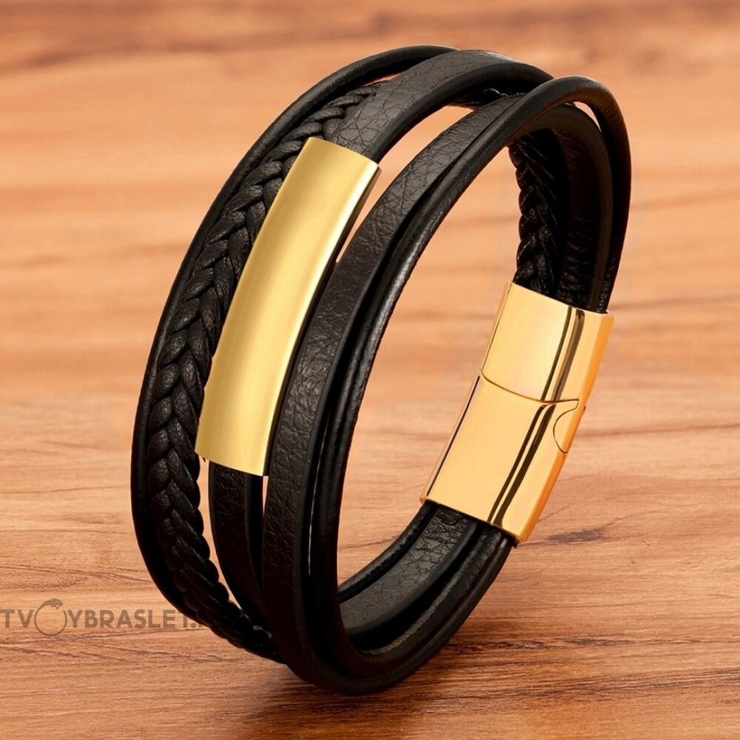 Браслет кожаный мужской многослойный магнитный замок Gold Твой Браслет LTH474