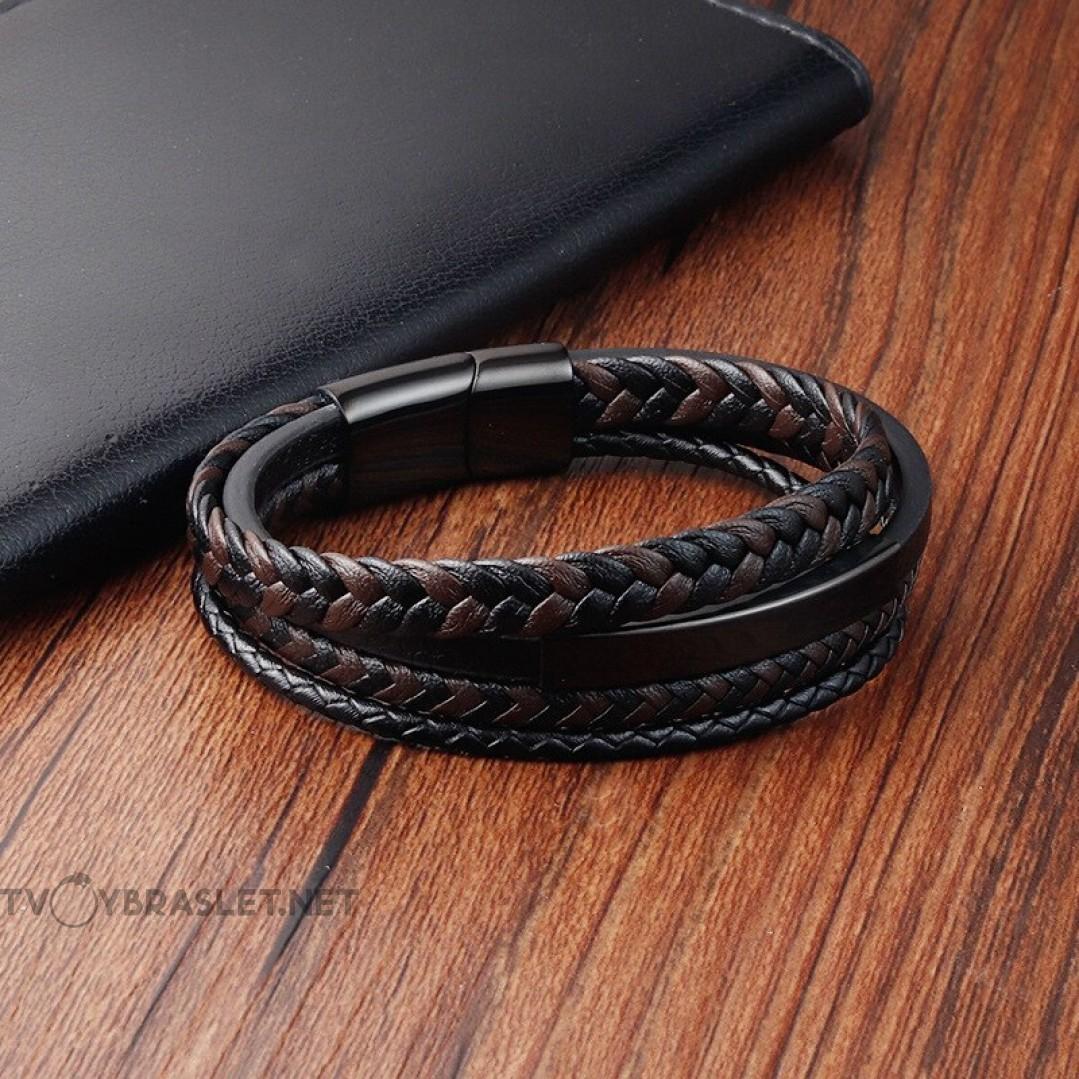 Браслет кожаный мужской многослойный черный с коричневым Твой Браслет LTH480