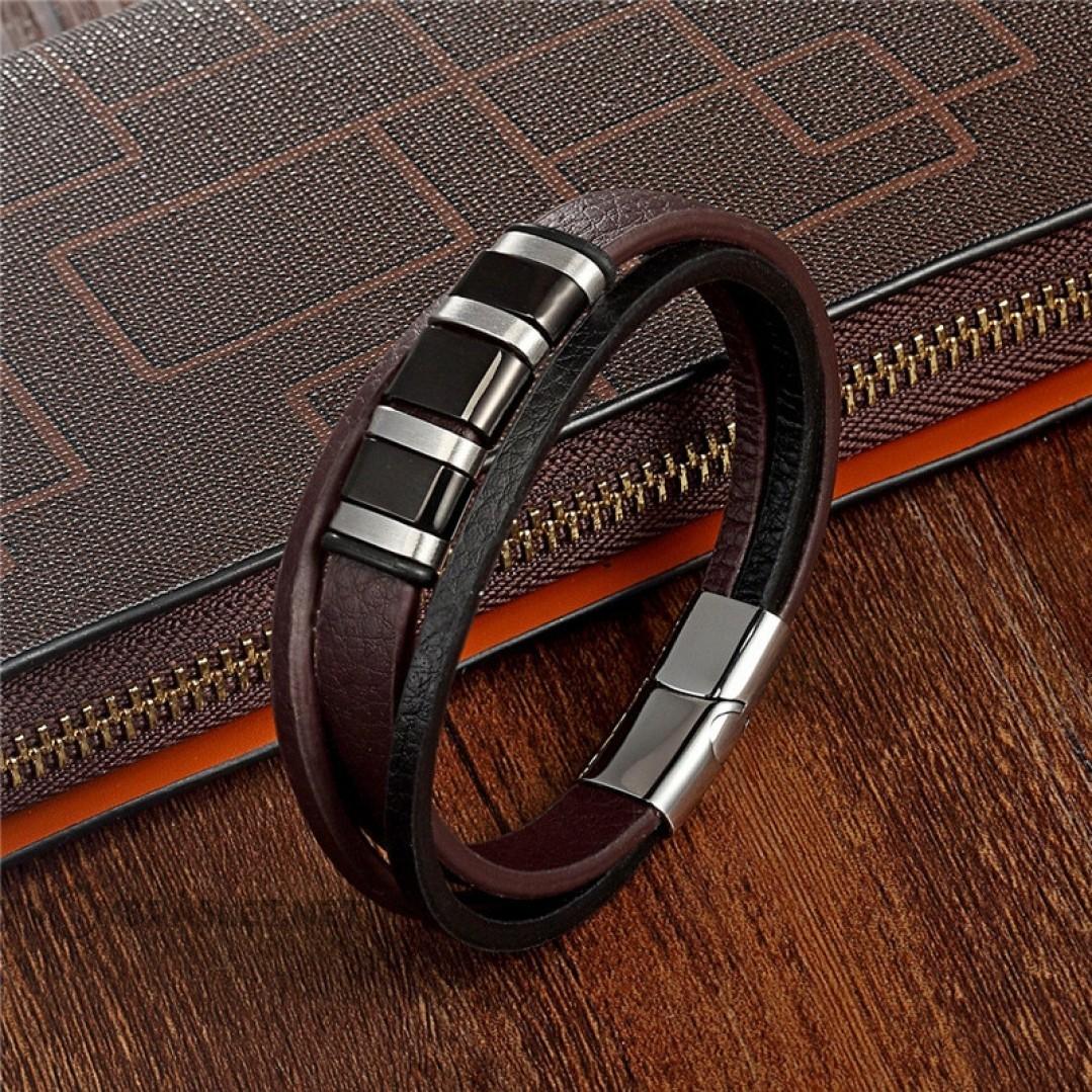 Браслет кожаный мужской в три слоя с магнитным замком коричневый с черным Твой Браслет LTH484
