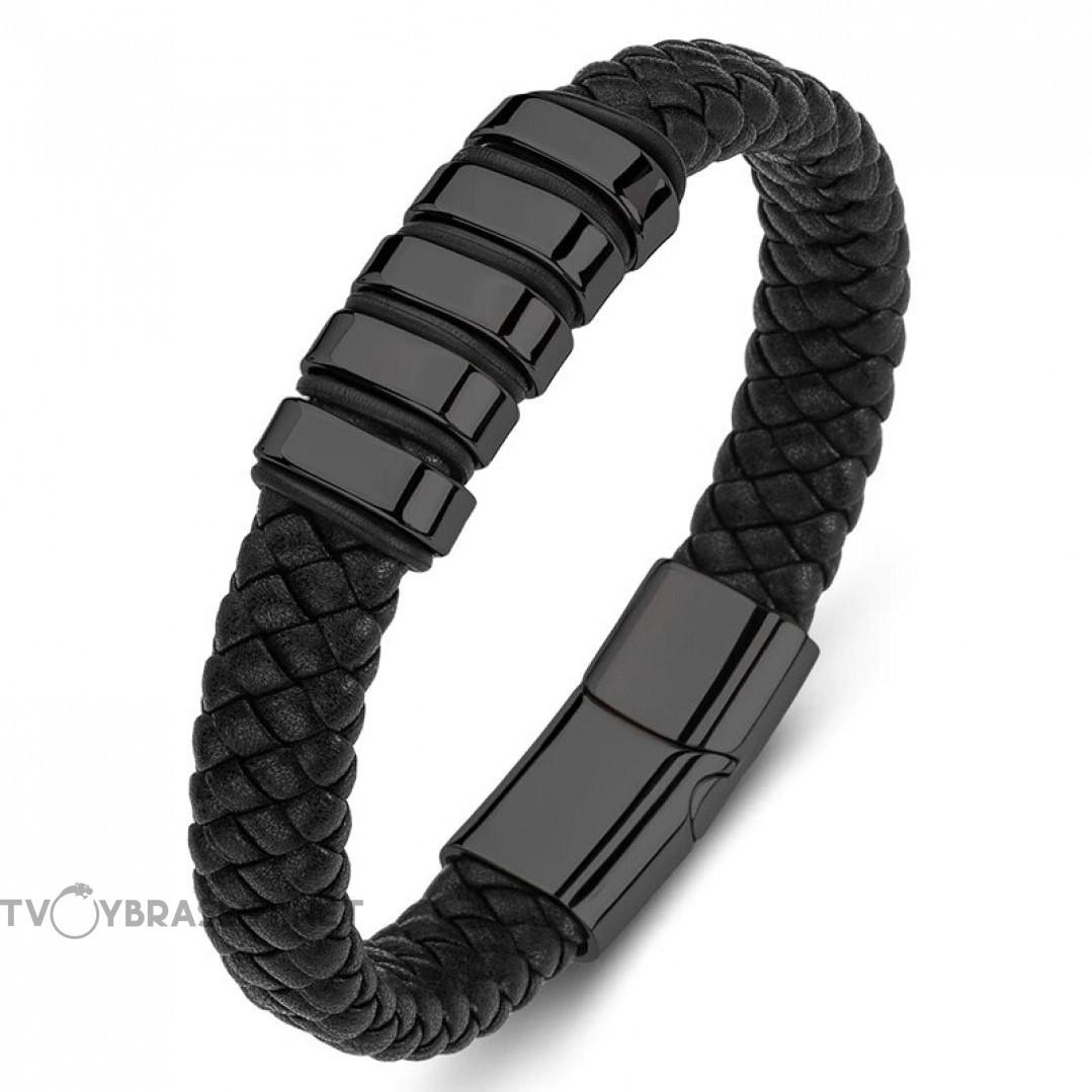Браслет кожаный мужской магнитный замок Black Твой Браслет LTH485
