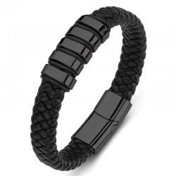 Браслет кожаный мужской с магнитным замком черный  Black Твой Браслет LTH485
