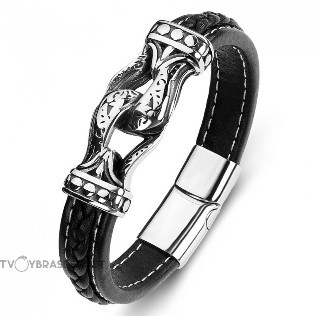 Браслет кожаный мужской с магнитным замком черный с белой строчкой Твой Браслет LTH487