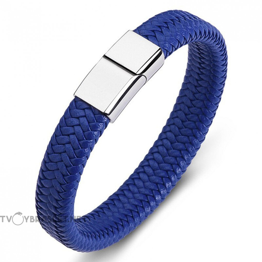 Браслет кожаный синий с магнитной стальной застежкой Silver Твой Браслет LTH488