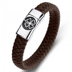 Браслет кожаный мужской Клевер сталь магнитный замок темно-коричневый Твой Браслет LTH489