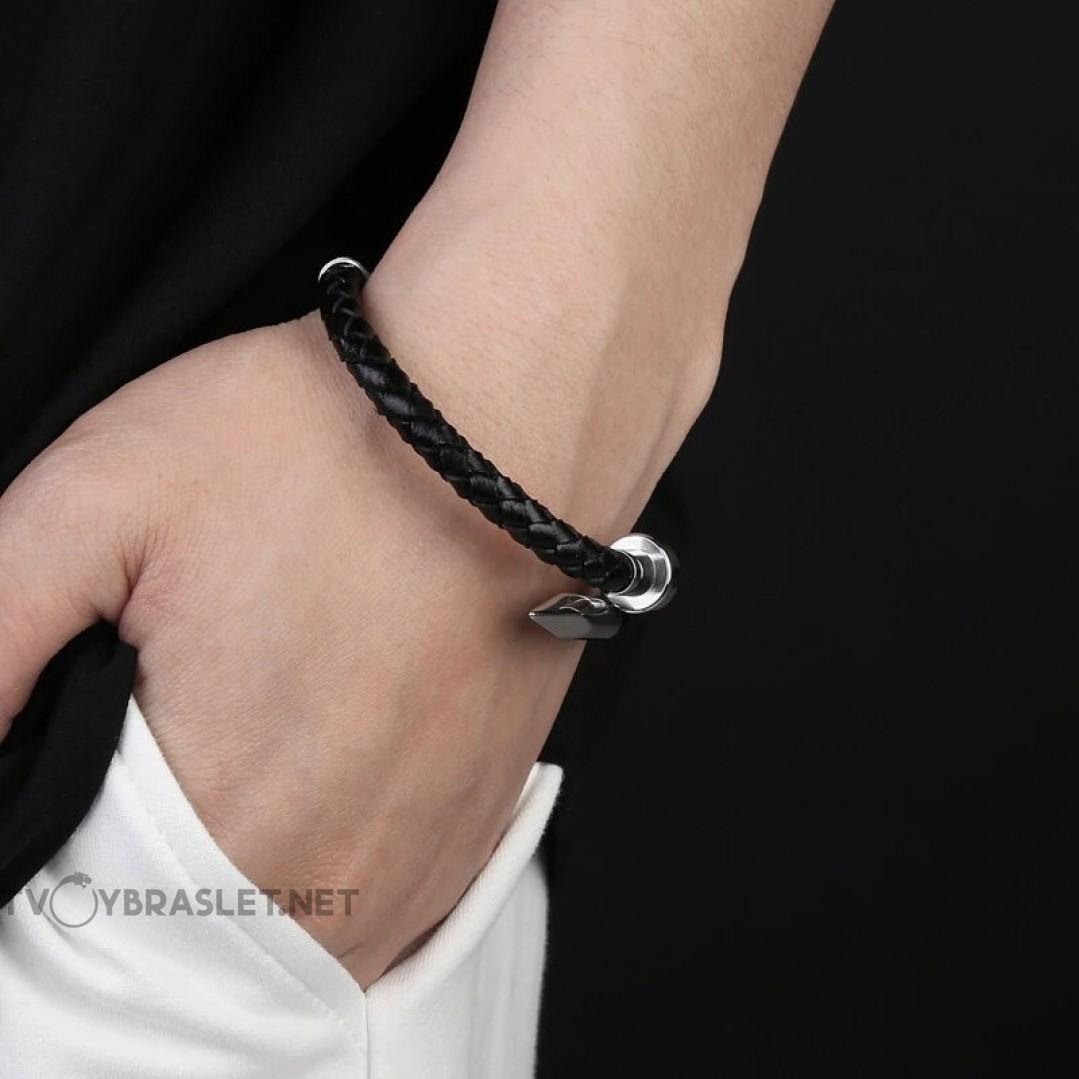 Браслет кожаный мужской Гвоздь черный магнитный замок Silver Твой Браслет LTH491