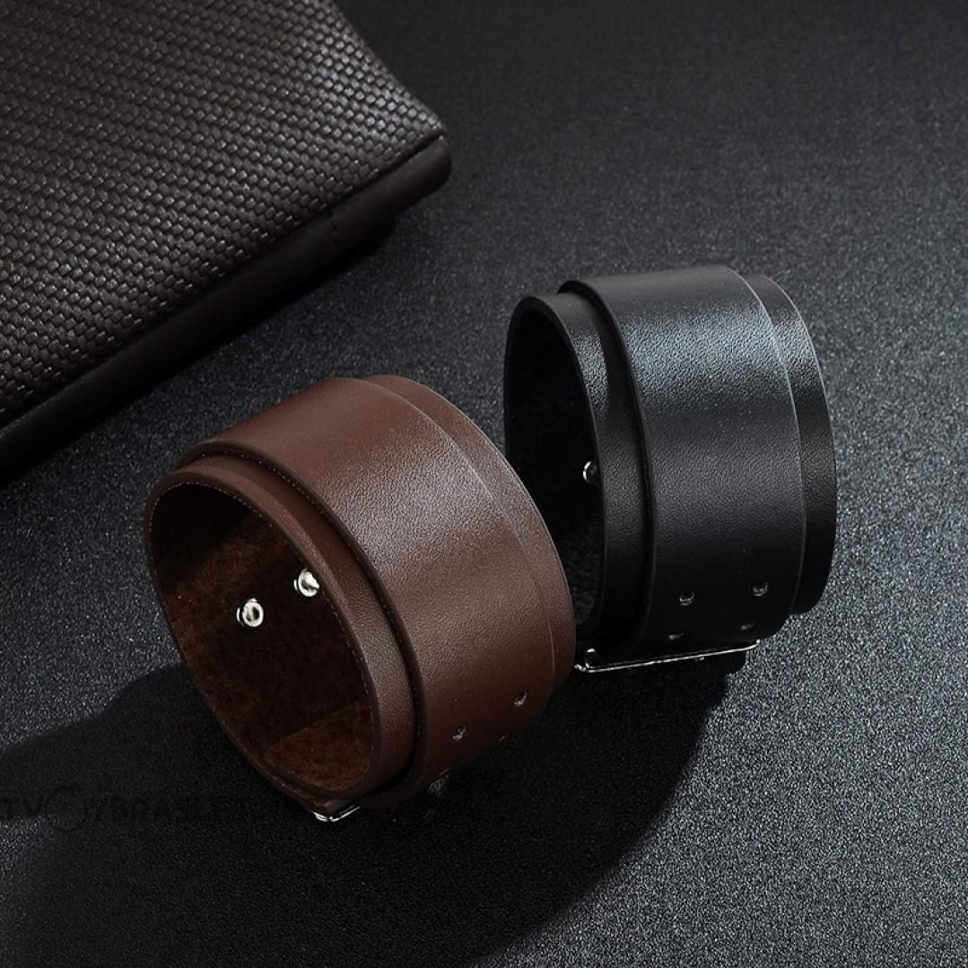 Браслет-ремень кожаный широкий коричневый 45 мм Твой Браслет LTH498