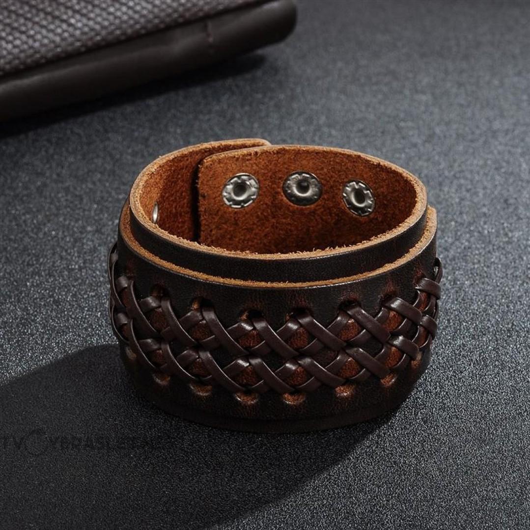 Браслет кожаный широкий на кнопках коричневый 45 мм Твой Браслет LTH499