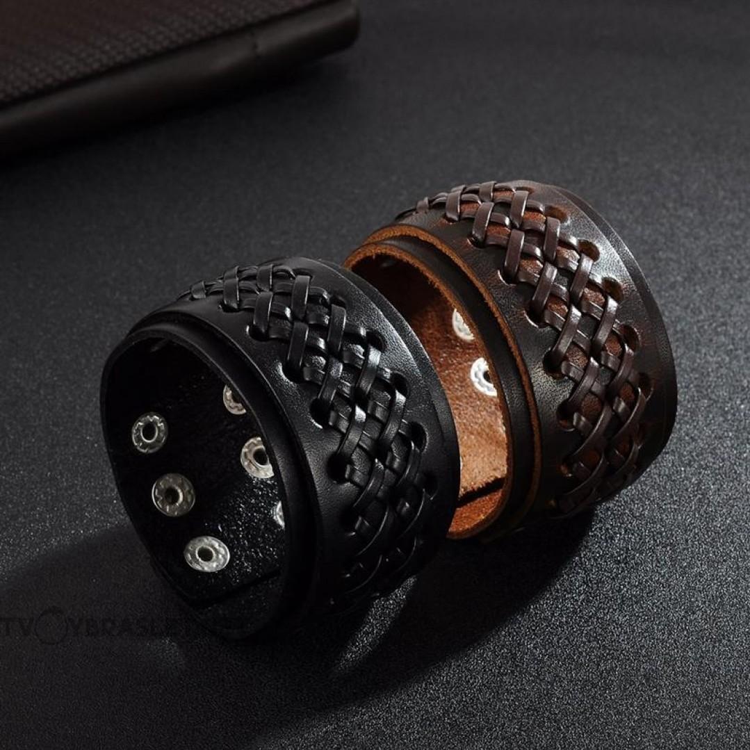 Браслет кожаный широкий на кнопках черный 45 мм Твой Браслет LTH500