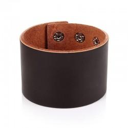 Браслет кожаный широкий на кнопках коричневый 49 мм Твой Браслет LTH501