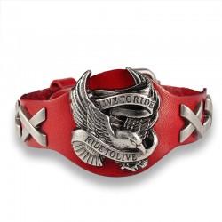 Браслет байкерский кожаный Ride To Live красный Твой Браслет LTH503