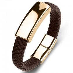 Браслет кожаный со стальной пряжкой коричневый Gold Твой Браслет LTH506