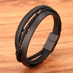 Браслет мужской кожаный многослойный Black Твой Браслет LTH507