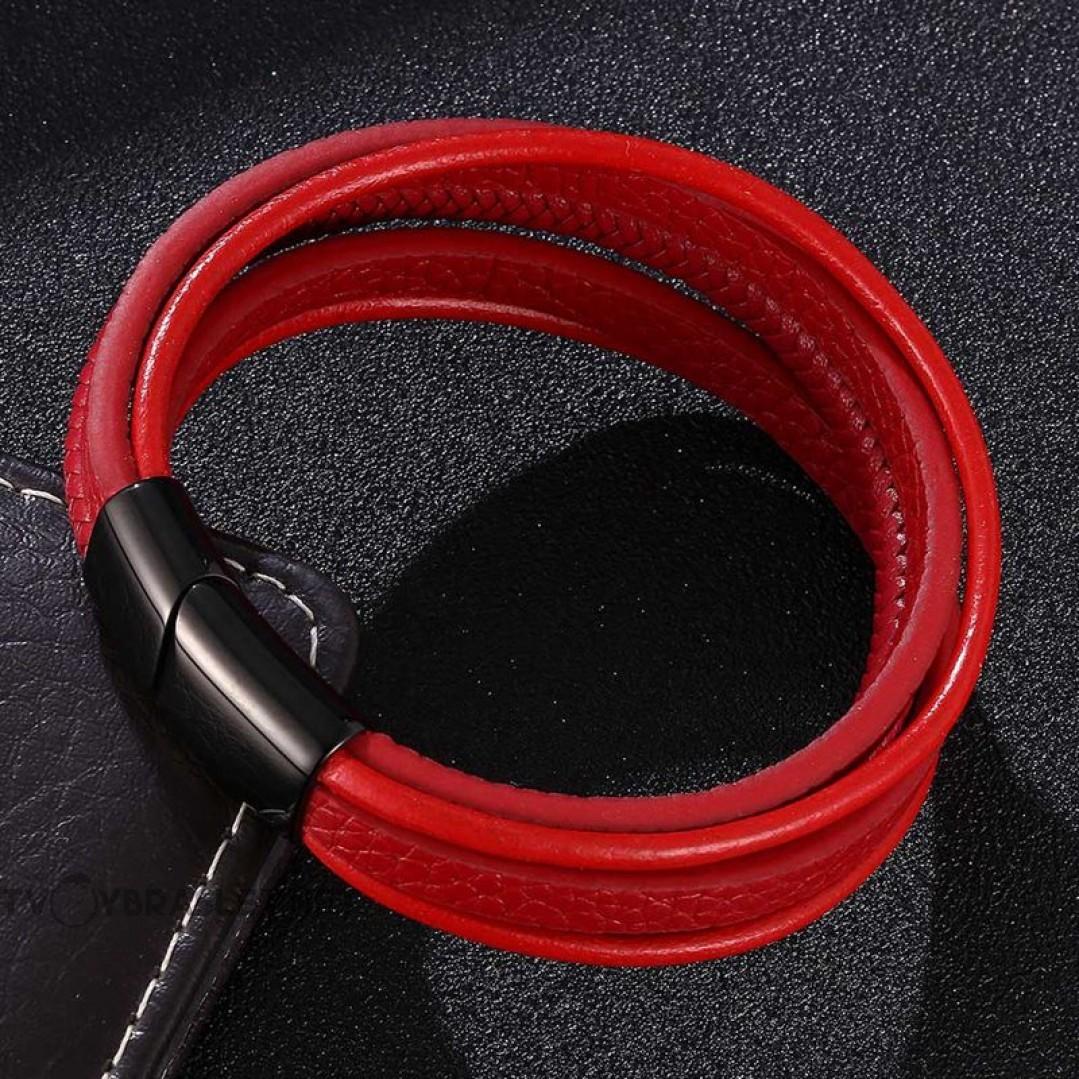 Браслет кожаный многослойный с магнитным замком красный Твой Браслет LTH508