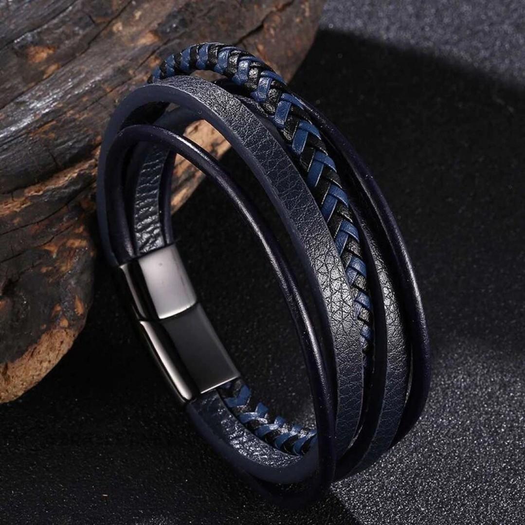 Браслет кожаный многослойный с магнитным замком синий с черным Твой Браслет LTH509