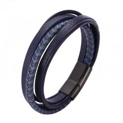 Браслет кожаный многослойный с магнитным замком синий с серым Твой Браслет LTH510