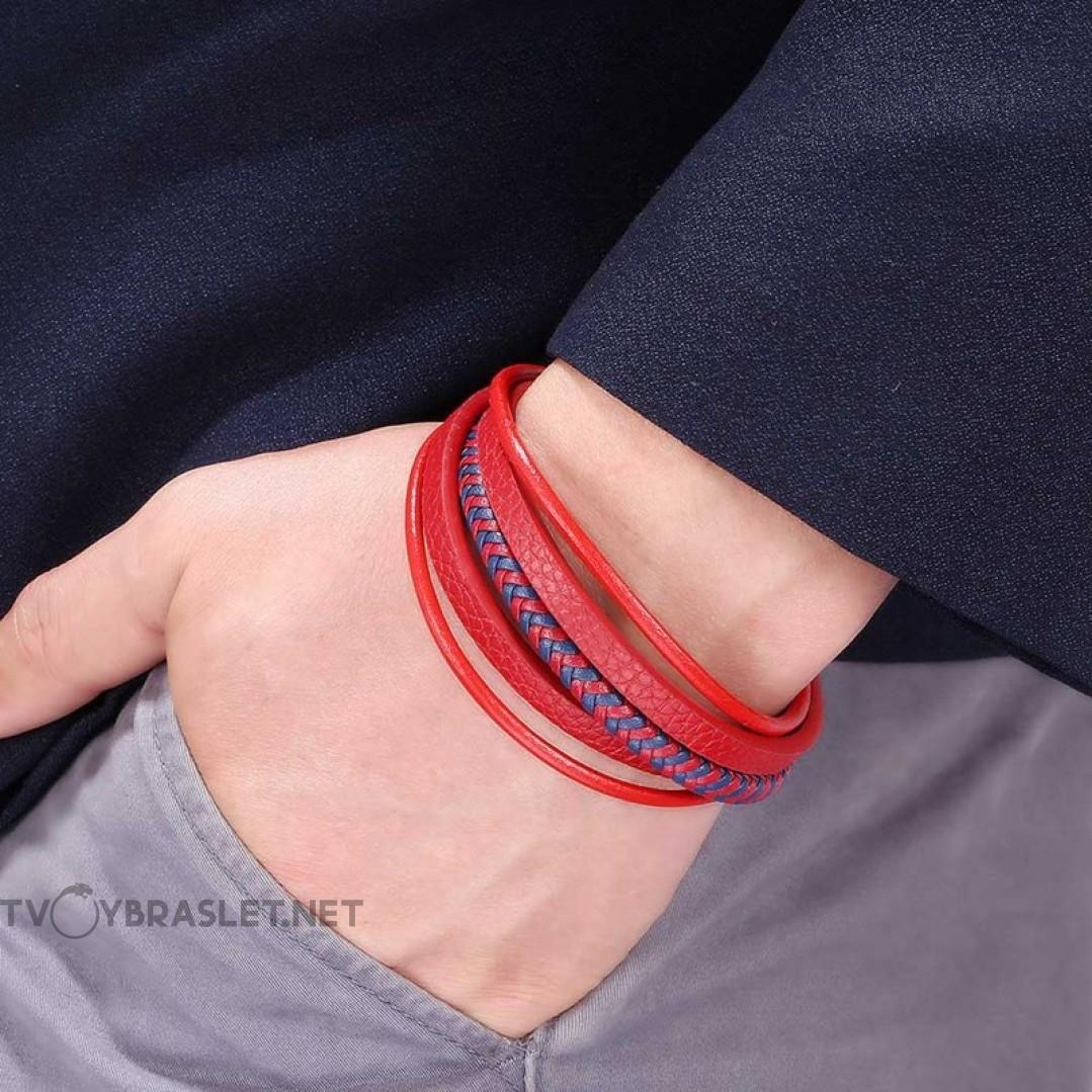Браслет кожаный многослойный с магнитным замком красный с синим Твой Браслет LTH511