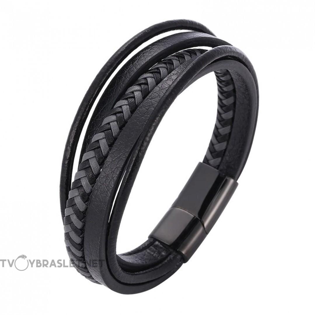 Браслет кожаный многослойный с магнитным замком черный с серым Твой Браслет LTH512