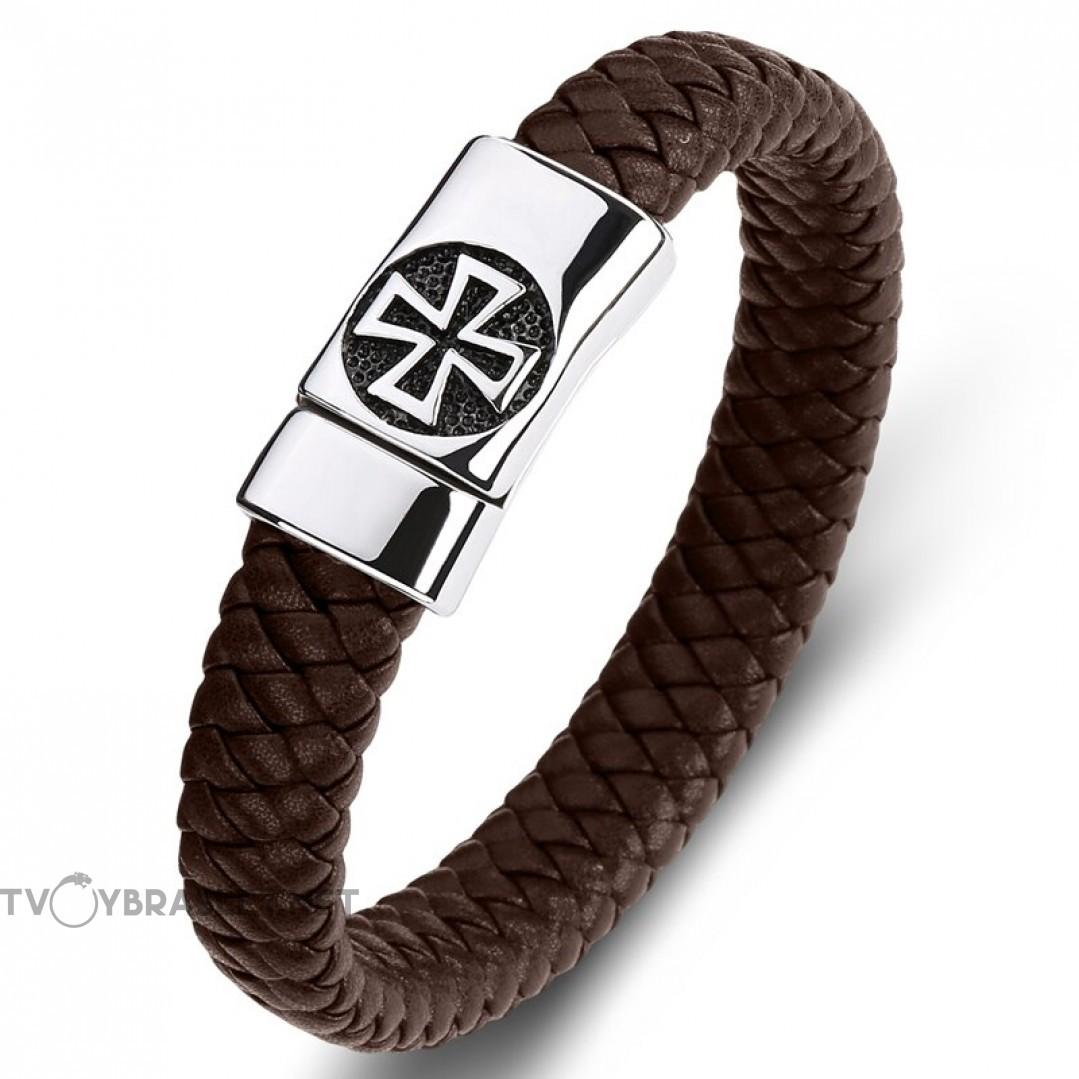 Браслет кожаный Мальтийский крест коричневый сталь магнитный замок Твой Браслет LTH514