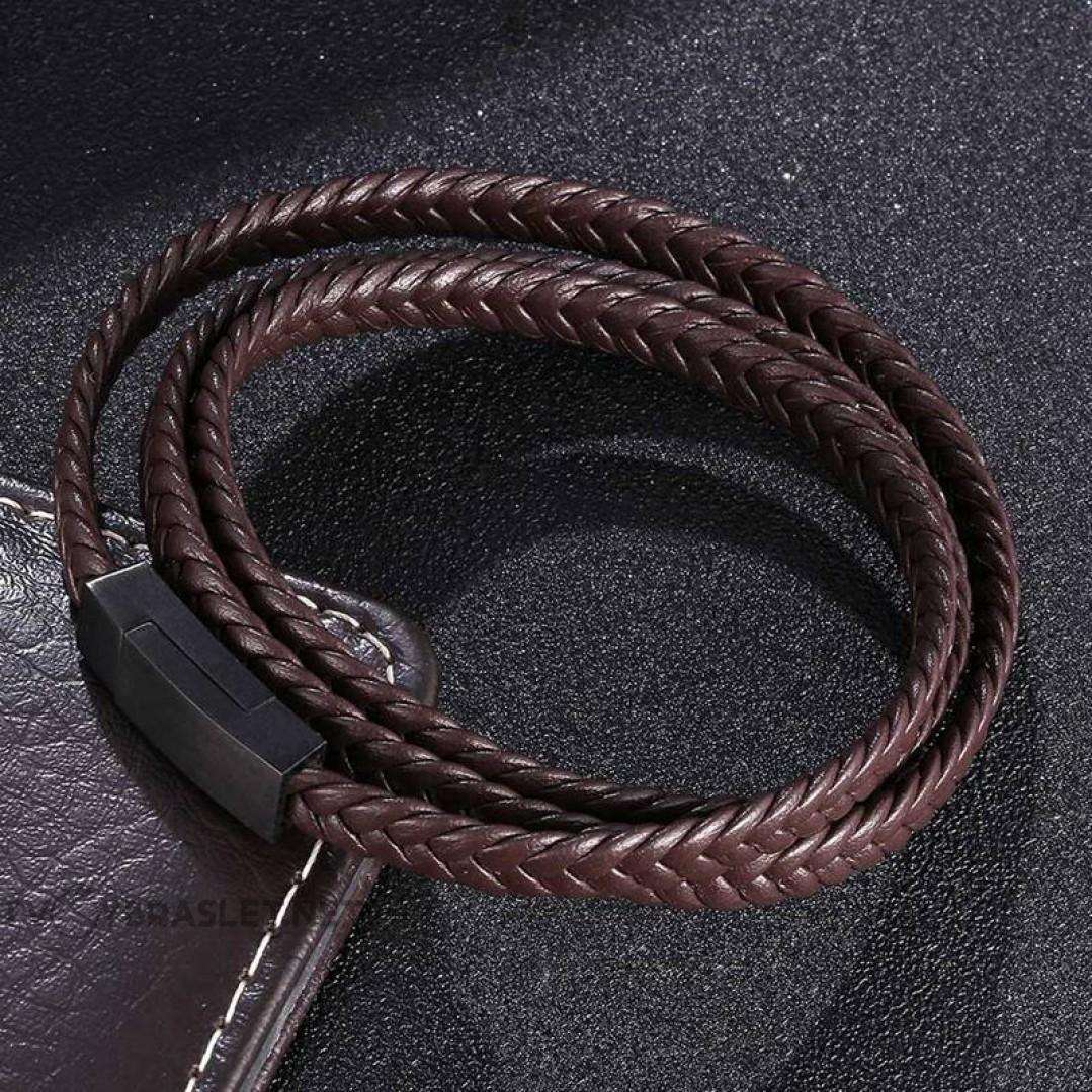 Браслет кожаный мужской коричневый в три оборота магнитный замок Твой Браслет LTH515