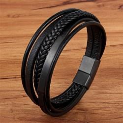 Браслет кожаный мужской многослойный магнитный замок Black Твой Браслет LTH516
