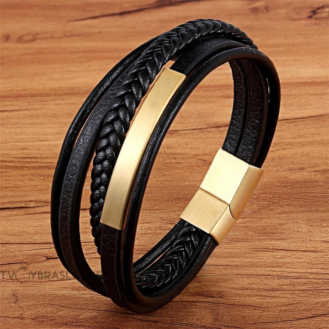 Браслет кожаный мужской многослойный магнитный замок Gold Твой Браслет LTH517