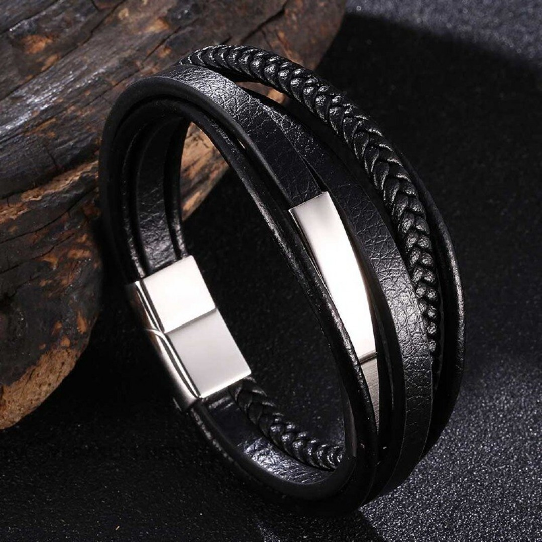 Браслет кожаный мужской многослойный магнитный замок Твой Браслет LTH518