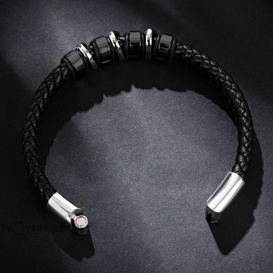 Браслет кожаный магнитный замок черный Black Silver Твой Браслет LTH519