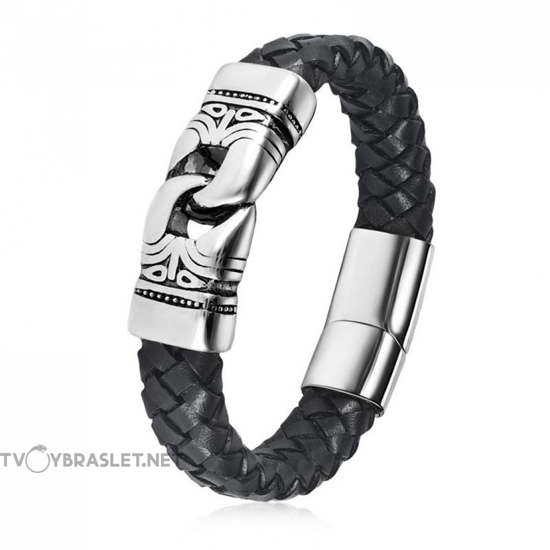 Браслет кожаный мужской магнитный замок черный Твой Браслет LTH521