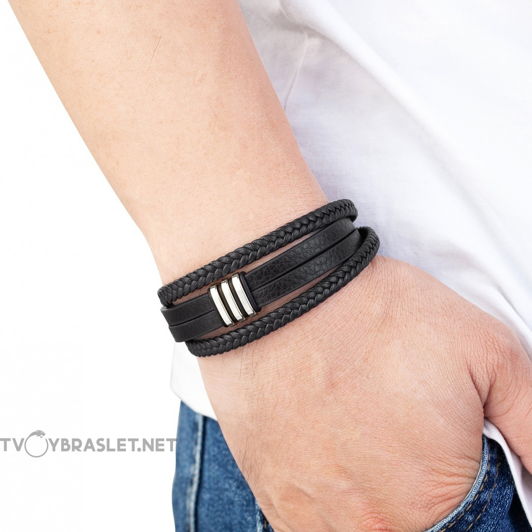 Браслет кожаный мужской многослойный черный Silver Твой Браслет LTH522