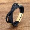 Браслет кожаный мужской крест накрест черный Gold Твой Браслет LTH523