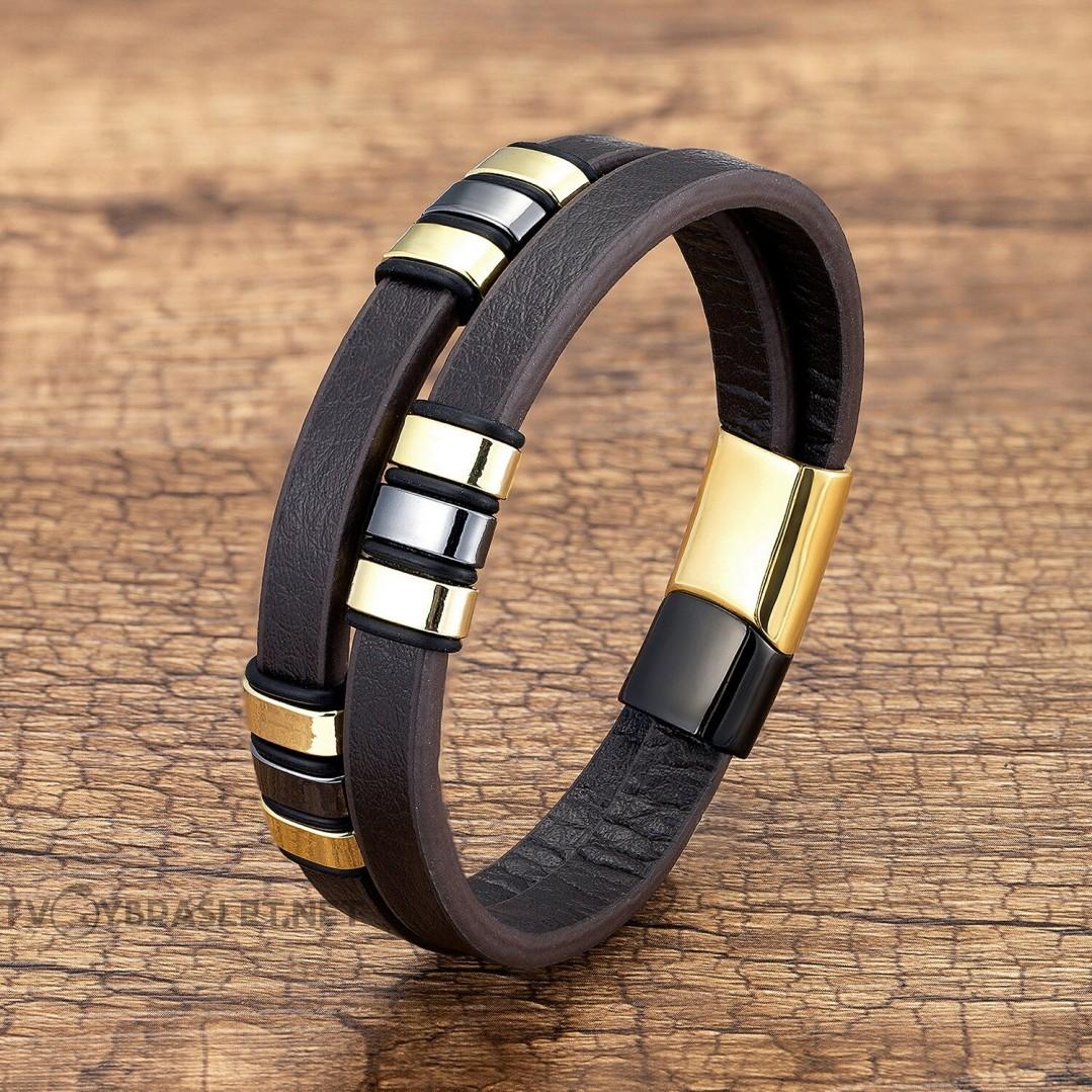 Браслет кожаный мужской в два слоя коричневый Black Gold Твой Браслет LTH524