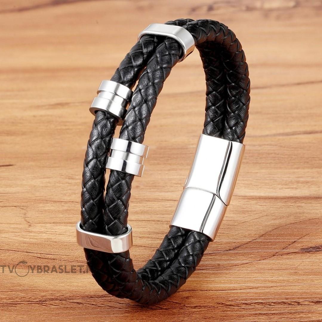 Браслет кожаный мужской двухслойный черный Твой Браслет LTH525