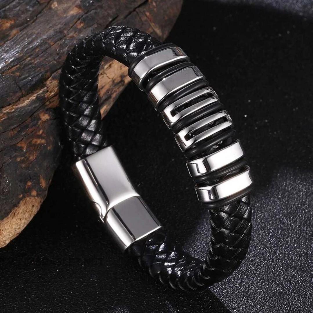 Браслет кожаный мужской магнитный замок черный Твой Браслет LTH526