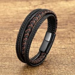 Браслет кожаный многослойный с магнитным замком черный с коричневым Твой Браслет LTH527